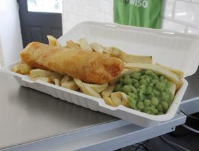 Fiddlers Elbow Fish & Chips Regular Cod & Chips with mushy peas -  - Leintwardine