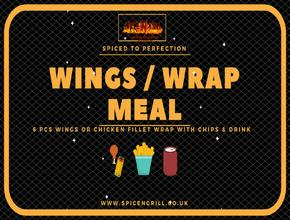 Spice N Grill Wings/Wrap Meal - American Food Delivery - Portsmouth