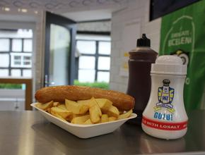 Fiddlers Elbow Fish & Chips Jumbo Sausage & Chips -  - Leintwardine